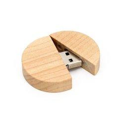 وصلة USB 2.0 فلاش محرك خشبي دائري هدية تصوير شعار مخصص قرص USB للتخزين