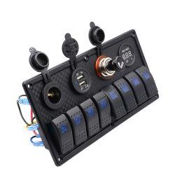 8 Gruppe-Wippenschalter-Panel-Voltmeter-Doppeltes USB für RV-Auto-Marineboot 12V-24V