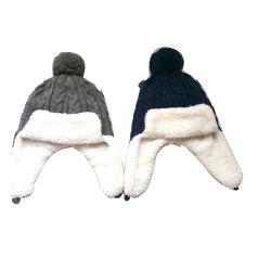 Les enfants de la mode d'hiver chaud Chunky tricot acrylique câble trappeur Hat/ Cap avec doublure Sherpa
