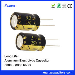 250V 3.3UF Radial de larga duración Alquiler de capacitor electrolítico
