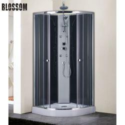 목욕탕 회색 강화 유리를 가진 독립 구조로 서있는 간단한 샤워실 내각