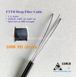 1- 4 núcleos de fuerza de FRP FTTH fibra monomodo Cable de fibra de caída GJXFH interiores