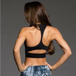 Venda por grosso Strappy Personalizado Sexy preta lisa Ginásio Fitness Desgaste de ioga mulheres sutiã de desporto