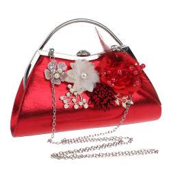 حقيبة المساء ذات اللون الأحمر الأكثر مبيعا مع ديكور أزهار جميل