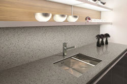 Engenharia artificial SF-1807 vaidade de quartzo cinzento escuro Top para banho de cozinha