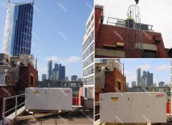 No terraço ao ar livre das unidades embaladas Carrier projetar soluções de construção na América do Sul