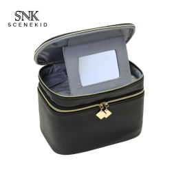 De in het groot Zwarte Kosmetische Zak van de Make-up van de Laag van de Reis Dubbele, de Waterdichte Kosmetische Zak van de Make-up met Spiegel