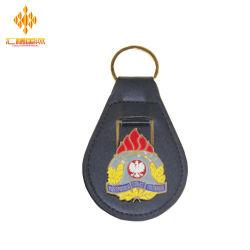 Factory Promotional Email Metall PU Leder-Schlüsselkette mit Ring