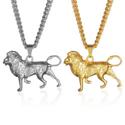 أزياء مجوهرات الحيوانات الذهب بلقعة 3D Lion عقد عقد للرجال