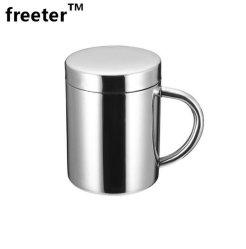 Le café tasse de lait en acier inoxydable avec isolation Double-Wall Teacup Heat-Resistant boire une tasse avec couvercle pour la maison Cafe Bureau