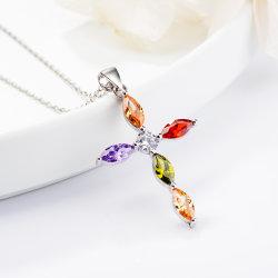 925 Sterling Silver Jewellery Croix pendentif Imitation Diamond