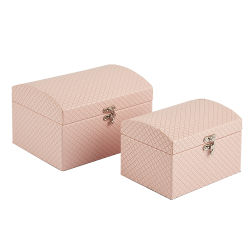 Tampa articulada de madeira de couro branco pequeno conjunto de jóias Trinket Box