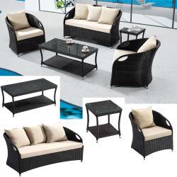 La Tabella pranzante imposta la disposizione dei posti a sedere 5 con un giardino di vimini del patio della mobilia della Tabella