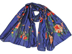 Marineblauw Bloem lange sjaal Dameshawl Head Wrap Poly Silk Travel Mode