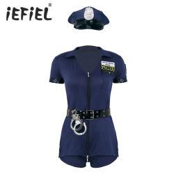 Vrouwen korte mouwen jurk manchetten riem hoed politie officier Uniform Cospplay kostuum