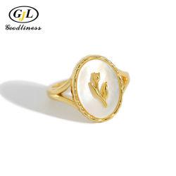 Joyería personalizada de nácar natural de los Anillos de Plata ovalados chapado en oro 18K Joyería