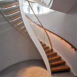 Aço inoxidável escada curvo com piso de madeira e vidro do Trilho