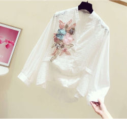 2020方法Sequin Embroidery Flower Decoration V-Neck Apparelの長いSleeve Shirt