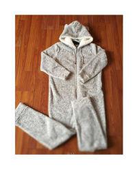 Kinder 260g kationische Plüsch Fleece Loungewear Nachtwäsche Schlafanzug Bademantel Einteiler