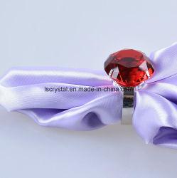 anello di cristallo del supporto del tovagliolo del metallo del diamante di colore rosso di 40mm