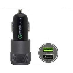 Carga rápida de metal Celular Dual USB Cargador de coche QC2.0