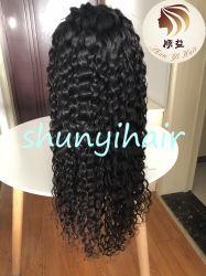 Grado Superior brasileña Virgen Secador de cabello humano 100% de encaje suizo pelucas onda Natural 150% Natural Indicador Densidad de la peluca de encaje completo