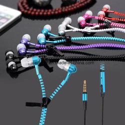 Fermeture à glissière en métal écouteurs avec microphone pour iPhone pour Android Les téléphones mobiles