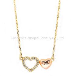 925 Silver 14K 18K Coração de ouro Colar Dom Moda