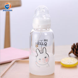 la bottiglia per il latte d'alimentazione del bambino di vetro 300ml con la misura contrassegna la stampa