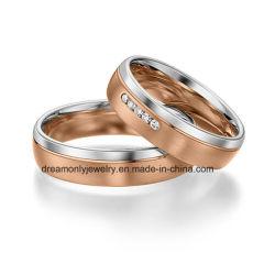 Monili classici dell'anello di cerimonia nuziale di stile dell'Europa dell'anello di cerimonia nuziale dell'oro bianco dell'oro della Rosa