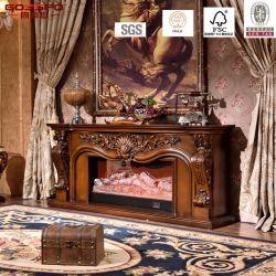 贅沢によって切り分けられる固体木の電気暖炉のマントルピース(GSP15-001)