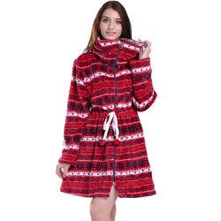 La taille de la mode plus long à fermeture éclair laine polaire de Noël de corail Fair Isle chandail chaud en hiver Veste chemisier long manteau pour les femmes filles