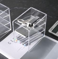 Plastiktischplattenacrylorganisator-Kasten für Federn und Telefon-Speicher