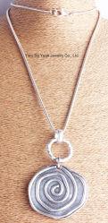 Halsband van de Ketting van de Slang van de Tegenhanger van de manier de Zilveren Antieke Zilveren Grote Ronde