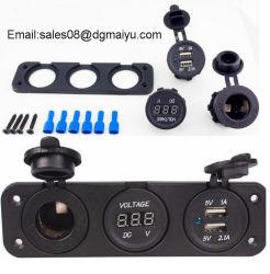 12V Cigarette Lighter Plug+ DIGITAL AMP Voltmeter Marine Car USB Flush Mount Socket