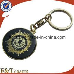 Round métal Or Peinture émail doux couleur métal personnalisé trousseau avec époxy