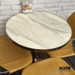 Kkr белого мрамора Corian столе искусства твердой поверхности обеденный стол круглый Журнальный столик