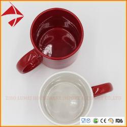 Couleur 11oz enrouler autour de deux tons poignée ronde d'impression par sublimation d tasse à café en céramique
