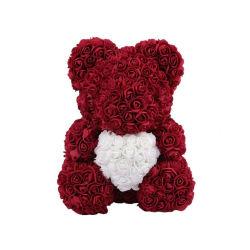 아름다운 핸드메이드 레드의 디자인 크리스마스 발렌타인 데이 PE 로즈 곰 선물 25cm