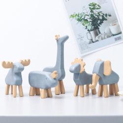 Creativas de los países nórdicos de resina en miniatura de la decoración de los animales elefante ciervos estatua de soporte para el hogar