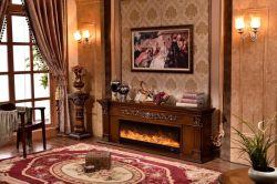 Sculpture en bois rustique Indoor cheminée avec meuble TV Mantel