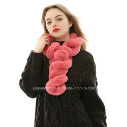 Usine Nouvelle populaire Lady Fashion fourrure acrylique foulard avec POM