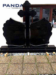 Lápida de la cruz de granito negro Monumento de desecho