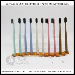 De biologisch afbreekbare Tandenborstel van het Stro van de Tarwe van het Hotel van het Varkenshaar van de Houtskool van het Bamboe