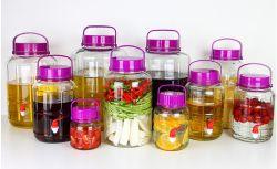 الطعام درجة زجاج شفافة موزع عصير زجاجي دورق زجاجي طعام وعاء زجاجي للماء مع كوب
