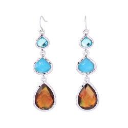 Lady's cristaux longs en couches de pierre précieuse goutte d'eau crochet Shape Earrings