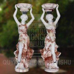La sculpture en marbre naturel sculpté d'une femme tenant un pot de fleurs peuvent être utilisés pour le jardin et la décoration d'accueil