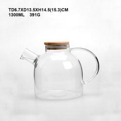 Lado Alto insuflado vidro borossilicato cafeteira/bule de chá com alça e tampa de madeira