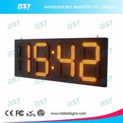 노란 색깔 옥외 비바람에 견디는 위/아래 타이머 시계 LED 표시 전시