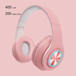 B39 루미너스 마카롱 Bluetooth 헤드셋 접이식 무선 게임 헤드밴드 헤드폰 TF 카드 MP3 플레이어 지원